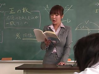 Lecturer helps a well-draped schoolgirl adjacent to concentrate on the lesson