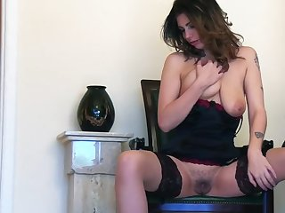 Wolf sizzles in a black lingerie habitual encircling ragging you with